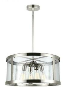 Feiss Harrow 4-Light Pendant, Clear Seeded Glass Panels, Polished Nickel