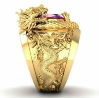 Women Mens 18K Gold Filled Dragon Ring Ruby Wedding Engagement Rings Size 7-14