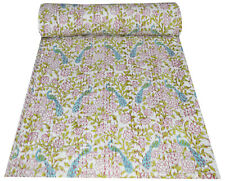 Indian Cotton Floral Twin Size Kantha Bedspread Blanket Handmade Throw Quilt