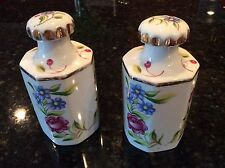 Pair Porcelain Dresser Jars Perfume Bottles Cork Lined Tops