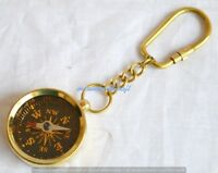Shiny Brass Collectable Compass Nautical Hiking Marine Compass KeyChain-100 pcs