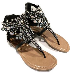 Daisy Fuentes 6 M Black Glow Thong Wedge Sandals Embellished Rhinestones ~ NEW