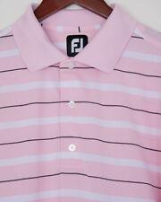 FootJoy FJ, men's short sleeve golf shirt, pink white black stripes, size M