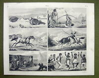 PEOPLE  Patagonia Hunting Greenland Seal Shooting - 1844 Antique Print Engraving