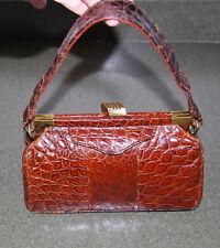 vintage Real ALLIGATOR CROCODILE Rust brown frame purse reticule handbag dr bag