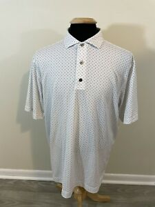 Men's Footjoy Golf Athletic Fit Short Sleeve White Patterned Polo XL