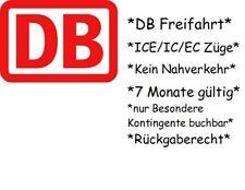 DB Deutsche Bahn-Fahrt Freifahrt Fahrkarte Bahn-Ticket ICE Ecoupon wie Lidl Flex
