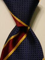 HENRY JACOBSON Men's 100% Silk Necktie Designer STRIPED Blue/Burgundy/Yellow EUC