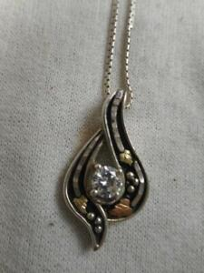 Vtg Coleman Co Black Hills Gold 925 & 12k gold pendant & 2 carat CZ necklace