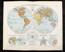 1910s Imperial Russian Antique map Hemispheres of Earth