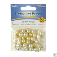 Cream Pearls Acrylic / Faux Gold Loops Connector Beads 8mm & 10mm ~36 Pieces