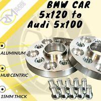 BMW CAR 5x120 72.5 to Audi 5x100 20mm Hubcentric PCD Adaptors - Steel Inserts