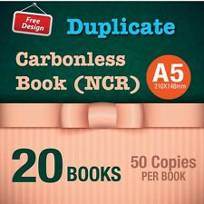 20 x A5 Custom Duplicate Carbonless QUOTE/Tax INVOICE Book + Free Design