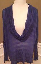 Stem Sold At Nordstrom L Blue Dolman Sleeve Cowl Kneck Semi Sheer Sweater