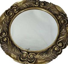 "Round wall mirror gold leaf design 20"" diameter decorative living room decor"