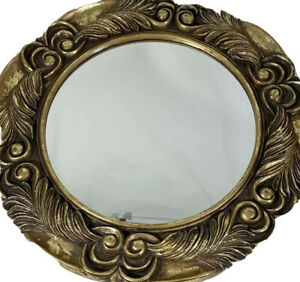 "Round wall mirror gold leaf design decorative living room decor 20"" diameter"