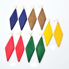 Earrings for Fashion Women Jewelry Geometric Rhombus Multi Color Wooden Pendant