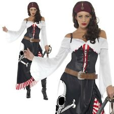 Ladies Sultry Pirate Wench Fancy Dress Costume Swashbuckler Caribbean UK 8-18