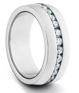 TungstenMasters 8MM/6MM TITANIUM Mens/Womens Silver Wedding Band Ring w/ CZ's