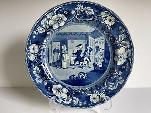 DR SYNTAX DISPUTING HIS BILL Historical Staffordshire China Transferware Plate