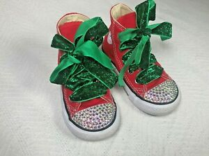 CONVERSE High Top Crystal Rhinestones Bling Red Christmas Handmade Girl Size 6