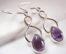 Amethyst Teardrop 925 Sterling Silver Dangle Earrings Corona Sun Jewelry