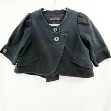 ZARA Black Cropped Swing Bolero Jacket Cotton Canvas EUC / Small