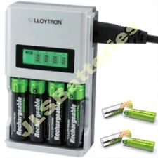 1 Hour LCD  BATTERY CHARGER + 4 AA 2500mAh Rechargeable Batteries Ni-Mh