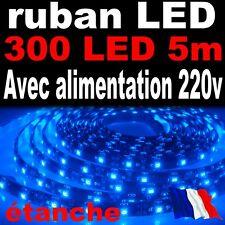 A807W/5# Ruban LED Bleu étanche 300LED 5m + alimentation
