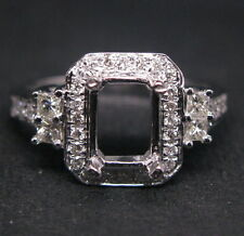 Emerald 6.0×8.0mm Solid 14Kt W/Gold Natural Diamond Semi Mount Engagement Ring
