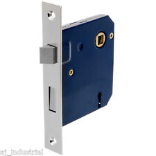 MORTISE LOCK SET - FOR ENTRANCE DOORS - SATIN CHROME STEEL - ANTIQUE SILVER