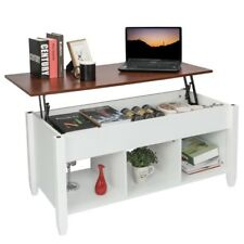 Lift Top Coffee Table Modern Furniture Hidden Compartment - Brown And White