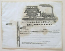 Lawrenceburgh & Indianapolis Railroad Stock Certificate 1830s