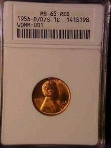 1956-D/D/S WOMM-001 LINCOLN CENT - ANACS MS65 RED! - GREAT VARIETY! - AA745QCXX