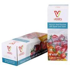 (15) Vacuum Seal Bags with Zipper & Valve for Ziploc, Any Handheld Vacuum Pumps