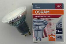 10 X OSRAM 8W GU10 LED 120 DEGREE FLOOD BEAM 3000K WARM WHITE DIMMABLE 575lm