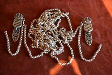 Antike Mieder Kette 835 Silber 220 cm lange Erbsenkette mit Stecker