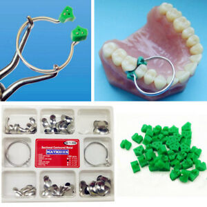 40Pcs Add-On Wedge+100Pcs/Set Dental Sectional Contoured Matrices Matrix Ring