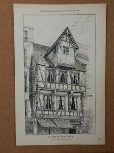 Antique Architects print 94 Rue St Jean Caen Building & Engineering times 1884