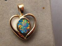 Opal Heart Pendant 14 k Yellow  Gold  Neon Color