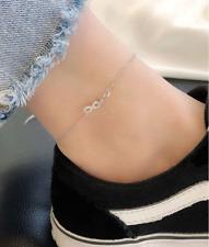 "Bracelet Foot Anklet Gift 8+2"" Chain E9 925 Sterling Silver Infinity Cross 8 Cz"
