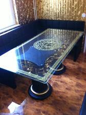 Glastisch Esstisch medusa mäander Barock Säulen Wohntisch aus Stuckgips 6036 MM