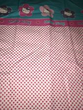 Hello Kitty Twin Flat Sheet Never Used Polka Dots Pink Blue Floral Flower Sanrio