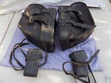 Vintage Harley Pan Head Shovel head large thick leather saddlebags saddle bags