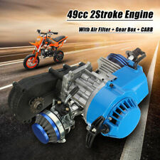 Blue 49CC 2-STROKE ENGINE MOTOR w/ Carburetor Aluminum POCKET MINI DIRT BIKE ATV