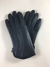Vintage Ladies Womens Petite Gloves Blue Winter Pleather Leather 1980s 80s Retro