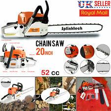 "2-Stroke 52CC Petrol Chainsaw Easy Start E-Start Chain Saw 20"" Tool Heavy Duty"