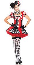 Jester Clown Circus Harlequin Cosplay Costume Halloween Adult Women Fancy Dress