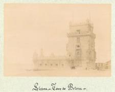 Potugal, Lisbonne, Tour de Belém  Vintage albumen print.  Tirage albuminé  1