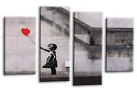 """BANKSY CANVAS WALL ART PICTURE GIRL WITH BALLOON RED GREY WHITE 4 PANEL 44""""x 27"""""""